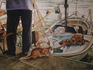 "Fisherman's Cat 27"" X 36"" or 16"" X 20"""